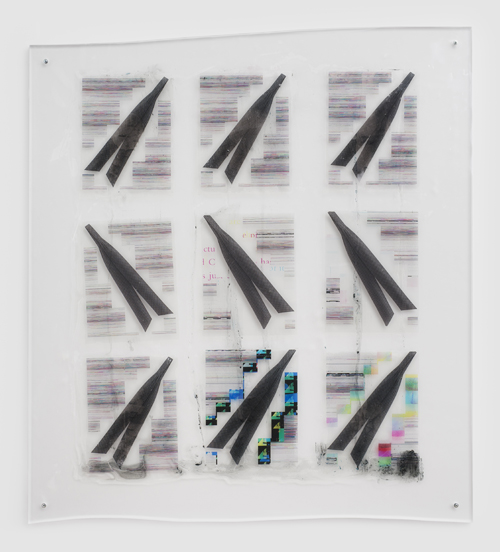 "in Pictures for Sara Greenberger Rafferty at Rachel Uffner Gallery. Image for Sara Greenberger Rafferty, ""Untitled,"" 2014, acrylic polymer and inkjet prints on acetate on Plexiglas, and hardware, Irregular: 45 x 40 x 1/2 inches (114.3 x 101.6 x 1.3 cm). Courtesy of Rachel Uffner"