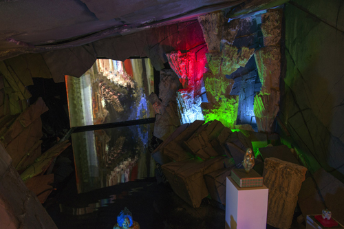 in Pictures for 'Early Man' at The Hole. Image for Cave Installation: Dennis Hoekstra. Video installation: Video by Takeshi Murata with music by Plate Tectonics. Courtesy of the artists and The Hole NYC