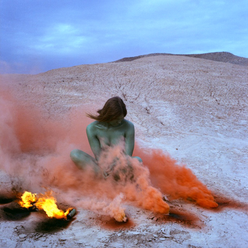 in Pictures for Hannah Barrett: 'Rustics' at Regina Rex. Image for Judy Chicago, 'Immolation' from the Women and Smoke Series, 1972, Flares, Performed with Faith Wilding in the California desert © Judy Chicago Photo courtesy of Through the Flower Archives