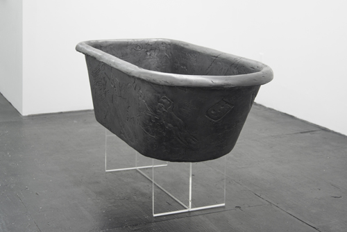 in Pictures for 'Three Cups Fragrance' at Bodega. Image for Lukas Geronimas, 'Custom Tub,' Plaster, Wood, Primer, Ink, Graphite Powder, Mesh Tape, Adhesives, Fasteners, Plexi, 2014, 59d x 24w x 18h in. with 12h in. base. Courtesy of Bodega