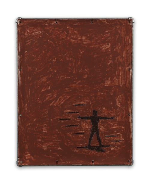 in Pictures for Valentin Carron at 303 Gallery. Image for Valentin Carron, 'Albinoni in Brown,' 2014, Vinyl ink on pvc tarpaulin, galvanized steel tubing, metal wire, 38 1/2 x 30 3/4 inches (97.8 x 78.1 cm). © Valentin Carron, courtesy 303 Gallery, New York