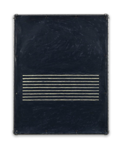 in Pictures for Valentin Carron at 303 Gallery. Image for Valentin Carron, 'Lamento in blue bianco,' 2014, Vinyl ink on pvc tarpaulin, galvanized steel tubing, metal wire, 38 1/2 x 30 3/4 inches (97.8 x 78.1 cm). © Valentin Carron, courtesy 303 Gallery, New York