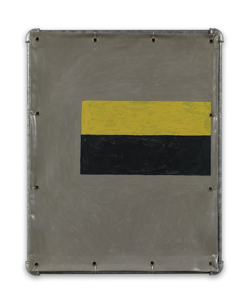 in Pictures for Valentin Carron at 303 Gallery. Image for Valentin Carron, 'Four Hammer Blows,' 2014, Vinyl ink on pvc tarpaulin, galvanized steel tubing, metal wire, 26 x 20 3/4 inches (66 x 52.7 cm). © Valentin Carron, courtesy 303 Gallery, New York
