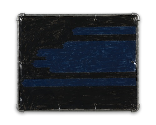 in Pictures for Valentin Carron at 303 Gallery. Image for Valentin Carron, 'Stratus,' 2014, Vinyl ink on pvc tarpaulin, galvanised steel tubing, metal wire, 18 x 22 1/2 inches (45.7 x 57.2 cm). © Valentin Carron, courtesy 303 Gallery, New York