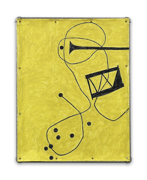 in Pictures for Valentin Carron at 303 Gallery. Image for Valentin Carron, ' Jazz,' 2014, Vinyl ink on pvc tarpaulin, galvanised steel tubing, metal wire, 38 1/2 x 30 1/2 inches (97.8 x 77.5 cm). © Valentin Carron, courtesy 303 Gallery, New York
