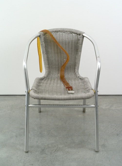 in Pictures for Valentin Carron at 303 Gallery. Image for Valentin Carron, 'Belt on braided chair,' 2014, Plastic, metal, glass, paint, 28 3/4 x 19 1/2 x 22 inches (73 x 49.5 x 55.9 cm). © Valentin Carron, courtesy 303 Gallery, New York