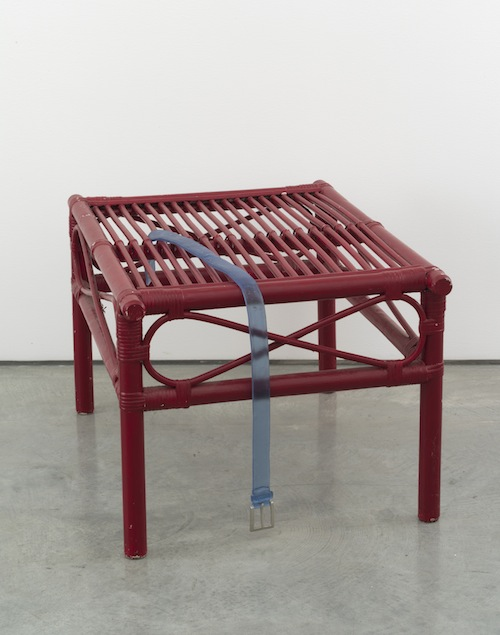 in Pictures for Valentin Carron at 303 Gallery. Image for Valentin Carron, 'Belt on bamboo table,' 2014, Bamboo, glass, paint, 17 1/2 x 20 1/2 x 29 inches (44.5 x 52.1 x 73.7 cm). © Valentin Carron, courtesy 303 Gallery, New York