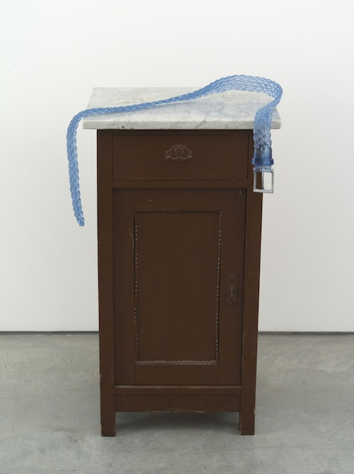 in Pictures for Valentin Carron at 303 Gallery. Image for Valentin Carron, 'Belt on small cabinet,' 2014, Wood, marble, metal, glass, paint, 31 1/2 x 17 1/2 x 15 inches (80 x 44.5 x 38.1 cm). © Valentin Carron, courtesy 303 Gallery, New York