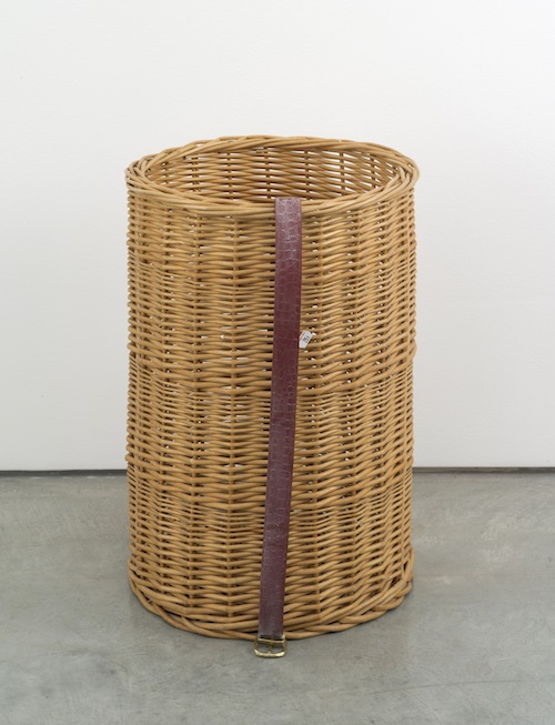 in Pictures for Valentin Carron at 303 Gallery. Image for Valentin Carron, 'Belt on rattan basket,' 2014, Rattan, glass, paint, 21 3/4 x 14 1/4 x 14 1/4 inches (55.2 x 36.2 x 36.2 cm). © Valentin Carron, courtesy 303 Gallery, New York