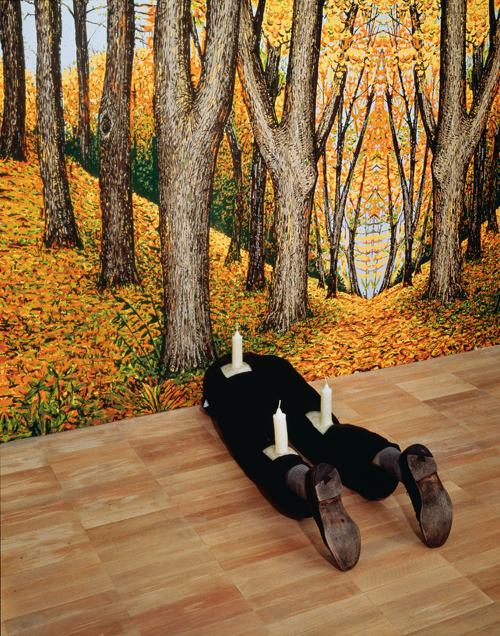 in Pictures for Robert Gober at MoMA. Image for Robert Gober (American, born 1954), Untitled. 1991, Wood, beeswax, leather, fabric, and human hair. 13 1/4 x 16 1/2 x 46 1/8″ (33.6 x 41.9 x 117.2 cm), The Museum of Modern Art, New York. Gift of Werner and Elaine Dannheisser / Background: Forest, 1991, Hand-painted silkscreen on paper. Image Credit: K. Ignatiadis, courtesy the artist and Matthew Marks Gallery © 2014 Robert Gober