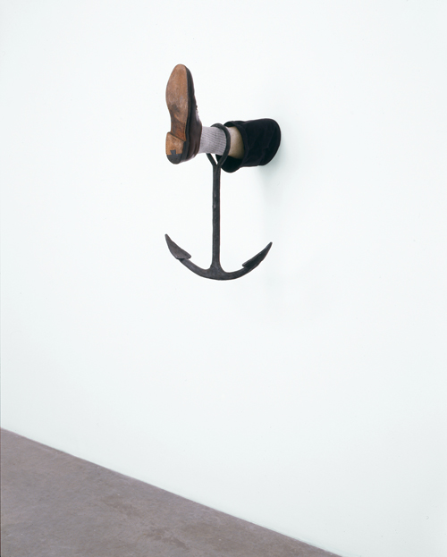 in Pictures for Robert Gober at MoMA. Image for Robert Gober (American, born 1954), Leg with Anchor. 2008, Forged iron and steel, beeswax, cotton, leather, and human hair. 28 × 18 × 20″ (71.1 × 45.7 × 50.8 cm), Glenstone. Image Credit: Bill Orcutt, courtesy the artist and Matthew Marks Gallery © 2014 Robert Gober