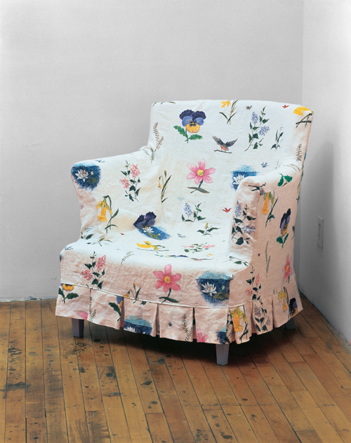 "in Pictures for Robert Gober at MoMA. Image for Robert Gober (American, born 1954), Slip Covered Armchair. 1986-87, Plaster, wood, linen, and fabric paint. 31 ½ x 30 ½ x 29"" (80 x 77.5 x 73.7 cm), Collection the artist. Image Credit: D. James Dee, courtesy the artist © 2014 Robert Gober"
