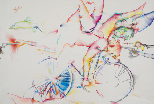 in Pictures for Marisol at El Museo del Barrio. Image for Marisol, American (born France, 1930), 'Lick the Tire of My Bicycle,' 1974, Colored pencil and crayon, 72⅛ × 105⅛ inches (183.1 × 267 cm). Collection of the artist