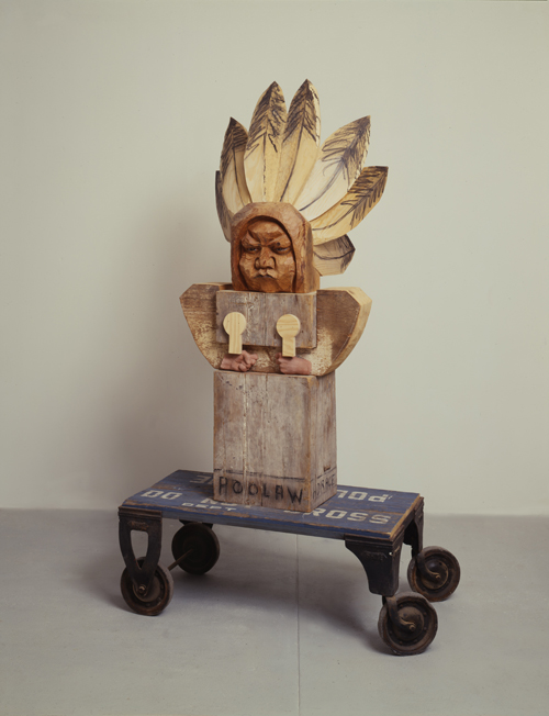 in Pictures for Marisol at El Museo del Barrio. Image for Marisol, American (born France, 1930), 'Horace Poolaw,' 1993, Wood and mixed media, 76 × 40½ × 32 inches, (193 × 103 × 81.3 cm). Collection of the artist