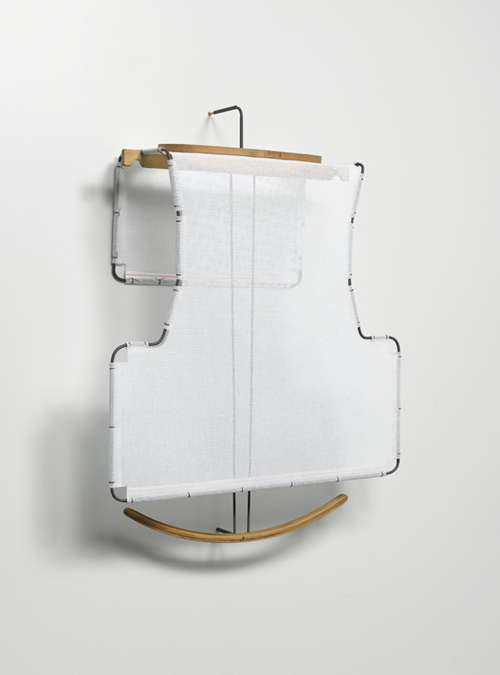 in Pictures for Jo Baer, Anne Neukamp, and Diane Simpson at Mitchell-Innes & Nash. Image for DIANE SIMPSON, 'Bib (white),' 2006, Cotton mesh, painted aluminum, found trunk hanger, found embroidery hoop, 30 by 23 by 8 in.  76.2 by 58.4 by 20.3 cm. Courtesy of the artists and Mitchell-Innes & Nash, NY