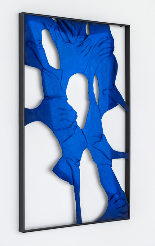 in Pictures for Lucy Kim at Lisa Cooley. Image for Lucy Kim, Back to Basics (Blue), 2014, Oil paint, acrylic paint, urethane resin, polyurethane glue, epoxy, wood, burlap, powder-coated aluminum frame, 37 x 23.5 inches. Courtesy of the artist and Lisa Cooley.
