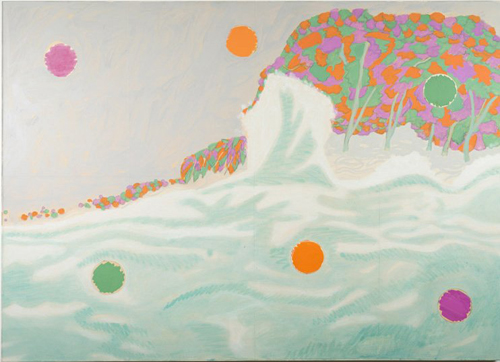 in Pictures for Tyson Reeder at CANADA. Image for Tyson Reeder, 'Seascape with Dots,' 2014, Mixed media on paper on canvas, 52 x 71 in. Courtesy of Canada, New York and the artist