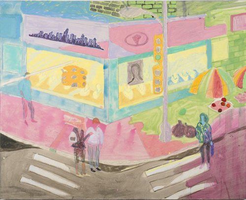 in Pictures for Tyson Reeder at CANADA. Image for Tyson Reeder, 'Street Corner,' 2014, Mixed media on paper on canvas, 48 x 60 in. Courtesy of Canada, New York and the artist
