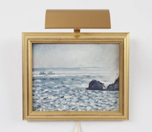 in Pictures for Paul Thek at Alexander and Bonin. Image for Paul Thek, 'Untitled (seascape with rocks)' ca. 1975, oil on canvas with artist's frame and picture light 8 x 10 in./20.3 x 25.4 cm. photo: Joerg Lohse. Courtesy, Alexander and Bonin, New York