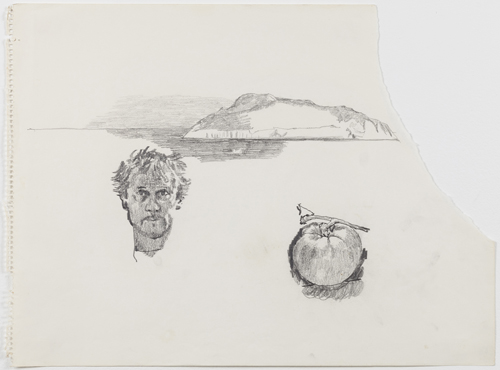 in Pictures for Paul Thek at Alexander and Bonin. Image for Paul Thek, 'Untitled (self-portrait, tomato, island)' 1970, pencil on paper, 14 1/8 x 19 in/36 x 48.5 cm. photo: Joerg Lohse. Courtesy, Alexander and Bonin, New York