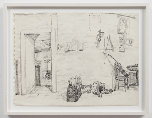in Pictures for Paul Thek at Alexander and Bonin. Image for Paul Thek, 'Untitled (studio interior)' ca.1970, pencil on paper, 14 x 19 in./35.6 x 48.3 cm. photo: Joerg Lohse. Courtesy, Alexander and Bonin, New York