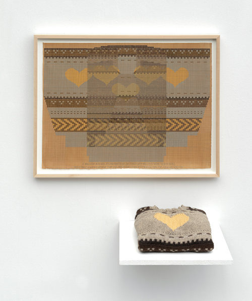 """in Pictures for 'Take Back Vermont' at Zieher Smith & Horton. Image for Ellen Lesperance, 'It was deep into her second winter at the peace camp and times were treacherous. But it was,' 2014, Gouache and graphite on tea stained paper with hand-knitted sweater, 21.5x29.5"""" / 54.6x74.9cm. Photo credit: Mark-Woods.com. Courtesy of the Artist and Zieher Smith & Horton"""