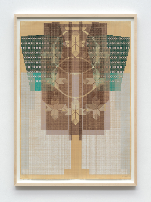 """in Pictures for 'Take Back Vermont' at Zieher Smith & Horton. Image for Ellen Lesperance, 'Woman II,' 2014, Gouache and graphite on tea stained paper with hand-knitted sweater and pants, 41.5x29.5"""" / 105.4x74.9cm. Photo credit: Mark-Woods.com. Courtesy of the Artist and Zieher Smith & Horton"""