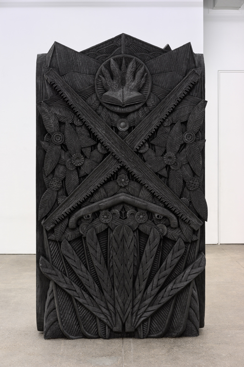 """in Pictures for 'Take Back Vermont' at Zieher Smith & Horton. Image for Aaron Spangler, 'Songbird,' 2009, Carved and painted basswood with a touch of graphite, 102x57x21"""" / 259.1x144.8x53.3cm. Photo credit: Mark-Woods.com. Courtesy of the Artist and Zieher Smith & Horton"""
