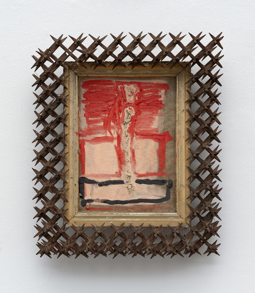 """in Pictures for 'Take Back Vermont' at Zieher Smith & Horton. Image for Peter Gallo, 'Cimabue,' 2014, Oil & string on stitched linen with found frame, 15.5x13x3"""" / 39.4x33x7.6cm. Photo credit: Mark-Woods.com. Courtesy of the Artist and Zieher Smith & Horton"""