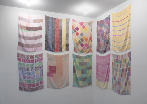 in Pictures for 'Looking Back: The Ninth White Columns Annual' at White Columns. Image for Polly Apfelbaum, 'HWP 10-20,' all 2014, Marker on rayon silk velvet panels, ceramic beads, Dimensions variable, ten pieces. Courtesy of the artist and Clifton Benevento, NY
