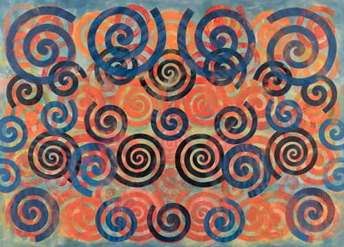 in Pictures for Philip Taaffe at Luhring Augustine Bushwick. Image for Philip Taaffe, 'Spiral Painting II,' 2015, Mixed media on canvas, 135 1/2 x 187 1/4 inches (344.2 x 475.6 cm). Photo by Farzad Owrang. © Philip Taaffe; Courtesy of the artist and Luhring Augustine, New York.
