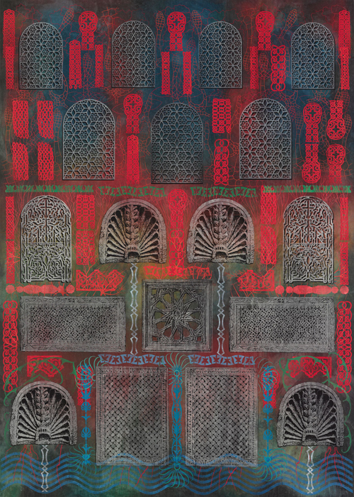 in Pictures for Philip Taaffe at Luhring Augustine Bushwick. Image for Philip Taaffe, 'Imaginary Fountain,' 2014, Mixed media on canvas, 156 x 111 inches (396.2 x 281.9 cm). Photo by Farzad Owrang. © Philip Taaffe; Courtesy of the artist and Luhring Augustine, New York.
