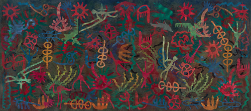 in Pictures for Philip Taaffe at Luhring Augustine Bushwick. Image for Philip Taaffe, 'Glyphic Field,' 2014, Mixed media on canvas, 110 3/8 x 249 3/8 inches (280.4 x 633.4 cm). Photo by Farzad Owrang. © Philip Taaffe; Courtesy of the artist and Luhring Augustine, New York.