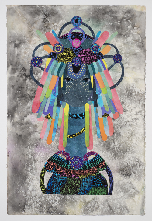 in Pictures for Saya Woolfalk at Leslie Tonkonow Artworks + Projects. Image for Saya Woolfalk, 'Untitled #5 from ChimaTEK series,' 2014, Mixed media collage on paper, 45-5/8 x 32-3/4 inches (framed). Copyright Saya Woolfalk, courtesy Leslie Tonkonow Artworks + Projects, New York