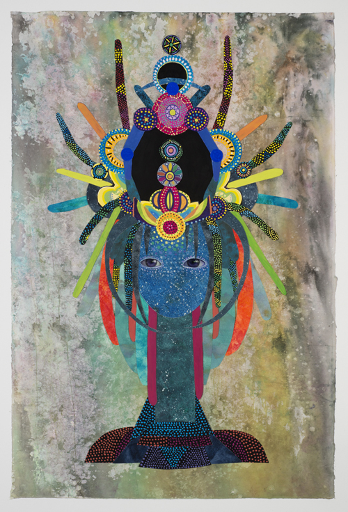 in Pictures for Saya Woolfalk at Leslie Tonkonow Artworks + Projects. Image for Saya Woolfalk, 'Untitled #8 from ChimaTEK series,' 2014, Mixed media collage on paper, 45-5/8 x 32-3/4 inches (framed). Copyright Saya Woolfalk, courtesy Leslie Tonkonow Artworks + Projects, New York