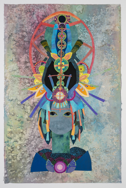 in Pictures for Saya Woolfalk at Leslie Tonkonow Artworks + Projects. Image for Saya Woolfalk, 'Untitled #6 from ChimaTEK series,' 2014, Mixed media collage on paper, 45-5/8 x 32-3/4 inches (framed). Copyright Saya Woolfalk, courtesy Leslie Tonkonow Artworks + Projects, New York