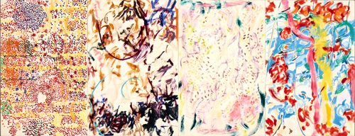 in Pictures for Nancy Graves at Mitchell-Innes & Nash. Image for NANCY GRAVES, 'Dissilient,' 1977, Oil with encaustic on four canvases, Overall: 36 by 94 in. (91.4 by 238.8 cm.) © 2014 Nancy Graves Foundation, Inc / Licensed by VAGA, New York, NY.  Images may not be reproduced in any form without permission from the foundation. Courtesy of Mitchell-Innes & Nash, NY.