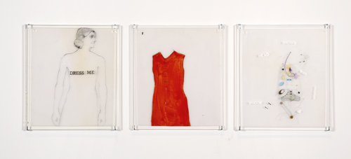 in Pictures for Lynn Hershman Leeson at Bridget Donahue. Image for Lynn Hershman Leeson, 'Dress Me 1, 2, 3 (3 plates),' 1965, (Early Work), Pencil, acrylic, Letraset, vellum, Plate 1: 6 x 6 inches (15.24 x 15.24 cm), Plate 2: 6 x 6 inches (15.24 x 15.24 cm), Plate 3: 6 x 6 inches (15.24 x 15.24 cm), Unique. Courtesy Bridget Donahue, New York