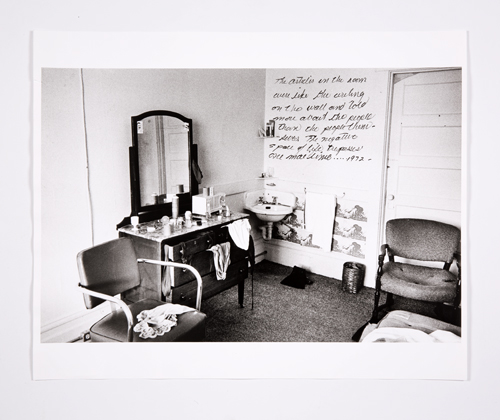 in Pictures for Lynn Hershman Leeson at Bridget Donahue. Image for Lynn Hershman Leeson, 'Dante Hotel, Writing on the Wall (One of two),' 1972 Ink on chromogenic print, 12.75 x 19.5 inches (32.39 x 49.53 cm), 18 x 22 inches (45.72 x 55.88 cm) (framed), Unique. Courtesy Bridget Donahue, New York