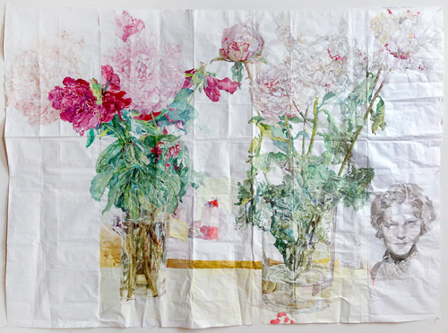 in Pictures for Dawn Clements at Pierogi. Image for Dawn Clements, 'Peonies,' 2014, Watercolor on paper, 69 x 93 inches. Courtesy of Pierogi