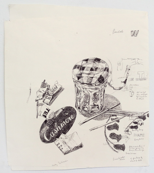 in Pictures for Dawn Clements at Pierogi. Image for Dawn Clements, 'Kitchen still life with cashmere,' 2013, Ballpoint pen ink on paper, 16.75 x 14 inches. Courtesy of Pierogi