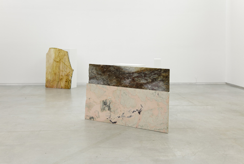 in Pictures for '2015 Triennial: Surround Audience' at New Museum. Image for Ane Graff, The Blow (Joined by Tendons), 2013. Oil paint on marble with pedestal, 39 1/2 x 65 x 10 5/8 in (100.5 x 165 x 27 cm). The Blow (Tract), 2013. Oil paint on marble with pedestal 48 3/8 x 38 1⁄2 x 16 1⁄2 in (123 x 98 x 42 cm). Courtesy the artist and Sørlandets Kunstmuseum. Photo: RH Studio