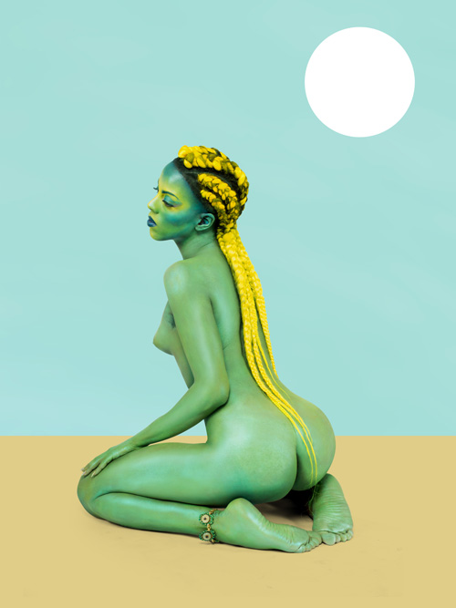 "in Pictures for '2015 Triennial: Surround Audience' at New Museum. Image for Juliana Huxtable, Untitled in the Rage (Nibiru Cataclysm) from the ""UNIVERSAL CROP TOPS FOR ALL THE SELF CANONIZED SAINTS OF BECOMING"" series, 2015, Inkjet print. Courtesy the artist"