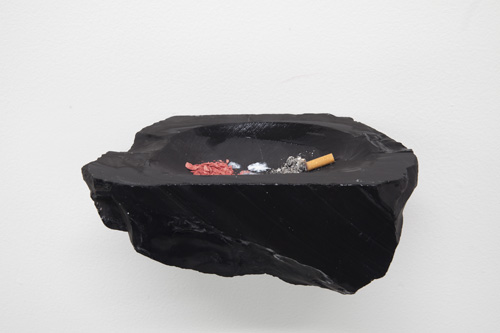 in Pictures for '2015 Triennial: Surround Audience' at New Museum. Image for Tania Pérez Córdova, chasing, pausing, waiting, 2014. Makeup (blush), bird droppings, cigarette ash, and black marble, 5 3/4 x 11 x 5 1/8 in (14.5 x 28 x 13 cm). Courtesy the artist and Proyectos Monclova, Mexico City