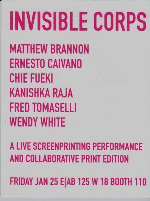 Invisible Corps: Kayrock Screenprinting  | Events Calendar