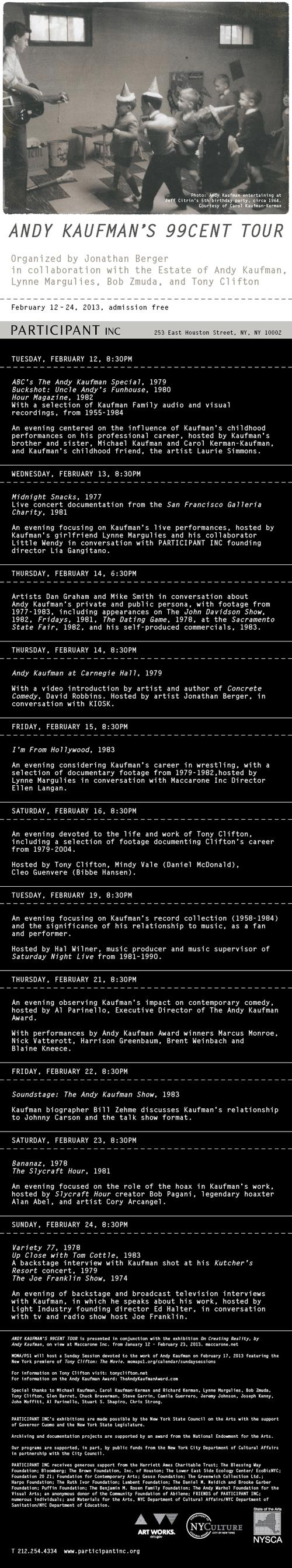 Andy Kaufman's 99cent Tour  | Events Calendar
