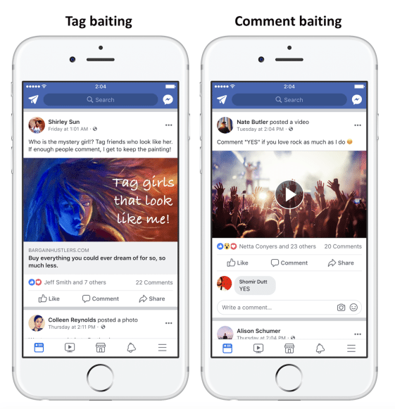 Facebook Tag and Comment Baiting