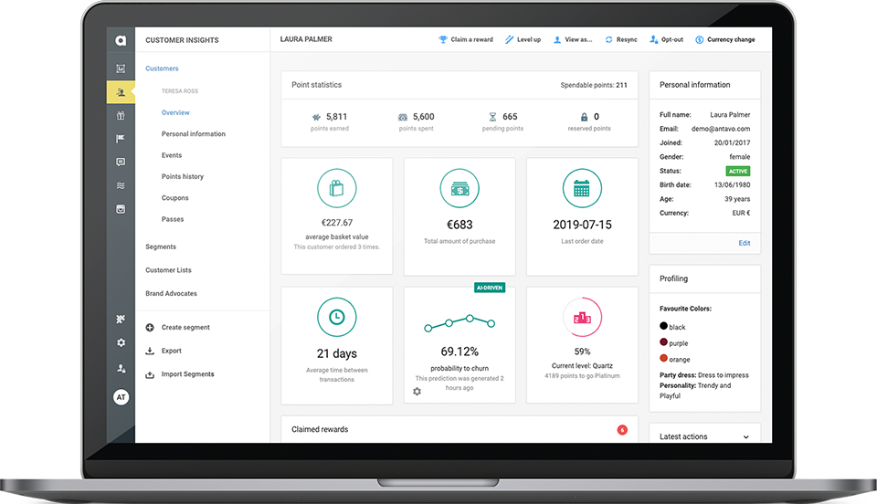 Antavo's Loyalty AI framework also includes the Smart Audiences tool. This feature helps you understand correlations between customer actions and predicted values, giving you valuable insights on those who are most at risk of churning.
