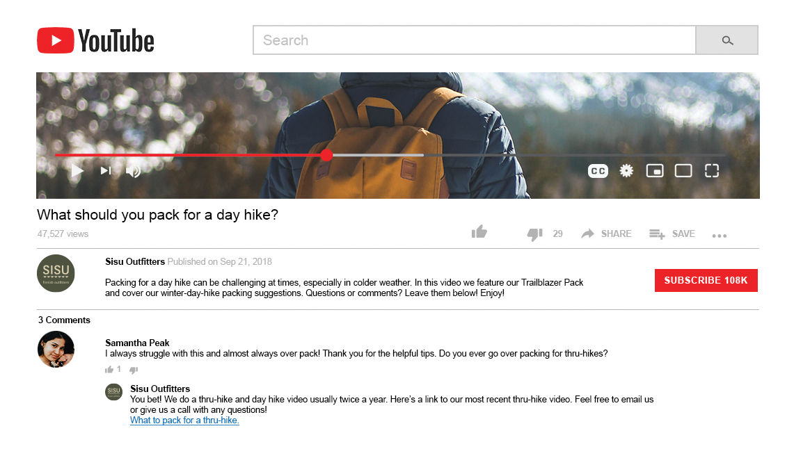 A YouTube video that advices viewers on what to take for a day hike, complete with a comment from a viewer thanking the company for the helpful information