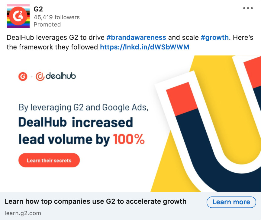LinkedIn ad example from G2
